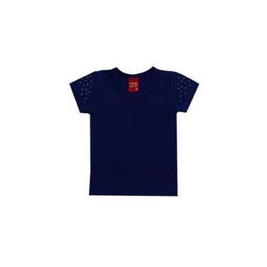 Blusa infantil menina em cotton azul marinho kyly