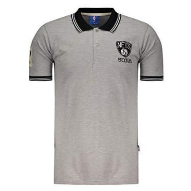 Polo NBA Piquet Brooklyn Nets Cinza 0c5bb0f92b994