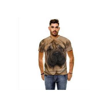 Camiseta Cachorro SharPei Bege Masculina Slim