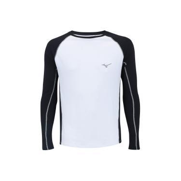 006525f6c Camiseta Manga Longa com Proteção Solar UV Mizuno Run Pro - Masculina -  BRANCO PRETO