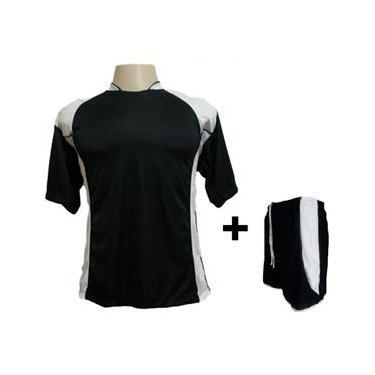 Uniforme Esportivo com 14 Camisas modelo Suécia  + 14 Calções modelo Copa Preto/Branco