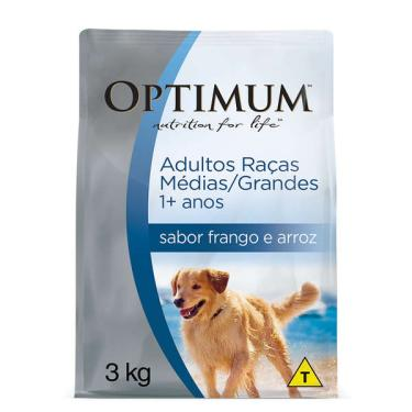 Ração Optimum Frango e Arroz para Cães Adultos Raças Médias e Grandes 1+ Anos - 3 Kg