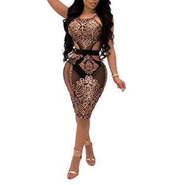 Imagem de Vestido feminino sexy Echine, decote em V, lantejoulas, sem mangas, festa, clube, bodycon, Dourado, Large
