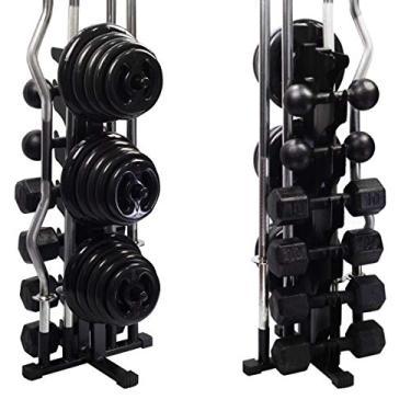 Suporte P/4 Barras 200kg Anilha 30kg Halter Casa Apartamento