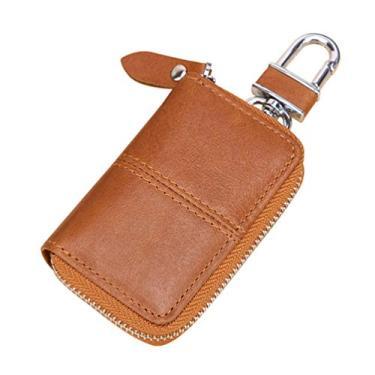 Garneck Bolsa de couro para chave de carro, chaveiro, porta-moedas, gancho de metal e bolsa com zíper para chaveiro remoto (marrom)