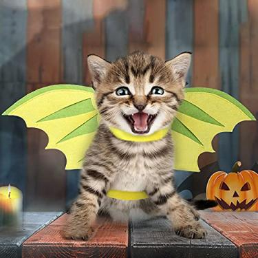 Imagem de LEFUYAN Fantasia de Halloween para animais de estimação, fantasia de anjo, asa de dragão para cães, gatos, coelhos, porquinhos, presente divertido na festa de Halloween, tema de anime, aniversário e Natal