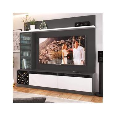 Estante Home Para TV até 60 Polegadas 1 Porta de Vidro Veneza Quiditá Grafite/Branco