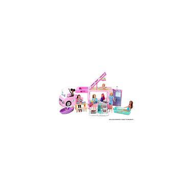 Imagem de Veículo DreamCamper Barbie em 1, aprox. ft, Transforming Camper com piscina, caminhão, barco e acessórios, é um ótimo presente para crianças de 1 ano