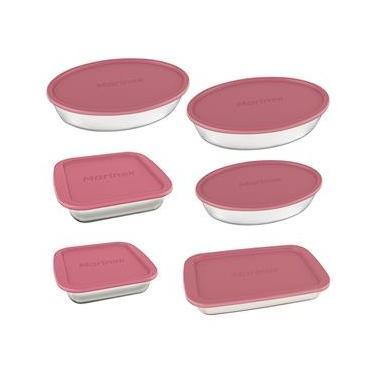 Conjunto de Assadeiras Marinex 6 Peças em Vidro Sodacal Resistente com Tampas Plásticas