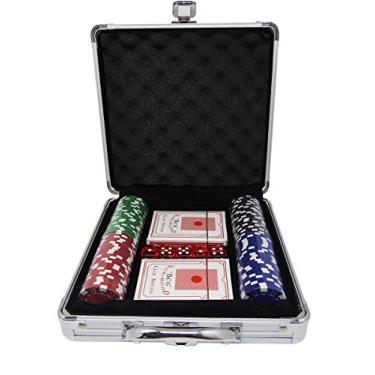 Maleta Kit Jogo Poker 100 Fichas Oficiais Baralho E Dados