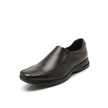 Sapato Social Couro Democrata Pespontos Marrom Democrata 448027-002 masculino