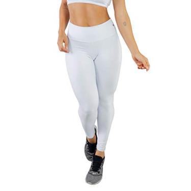 Calça Legging Poliamida Bravaa Modas Cintura Alta Simples 329 (M, Branco)