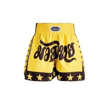 Shorts Boxe Muay Thai Fheras Training Estrela Amarelo-Preto