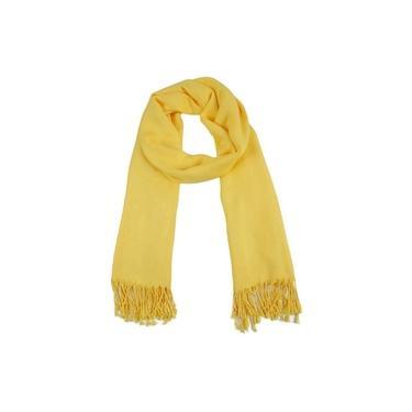 Echarpe Lisa Amarelo 220G Com Franja Viscose 180X70 Cm