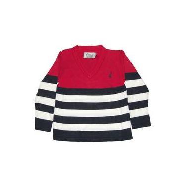 Suéter Infantil Em Tricô Listras Largas Vermelho E Branco Toffee