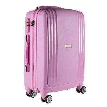 Imagem de Mala de Viagem Media em Polipropileno Yins 21074 Cadeado Integrado Rodas Duplas Rosa