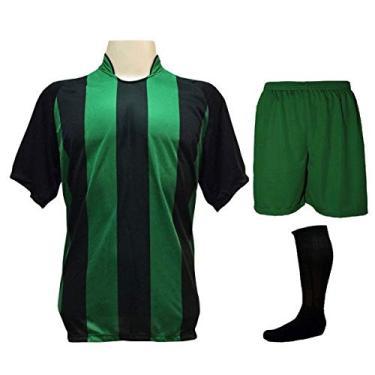 Fardamento Completo modelo Milan 18+1 (18 Camisas Preto/Verde + 18 Calções Madrid Verde + 18 Pares de Meiões Pretos + 1 Conjunto de Goleiro)