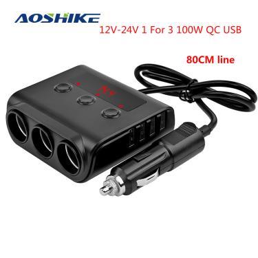 Aoshike adaptador de isqueiro de carro de 3 vias 12v-24v plugue divisor de tomada led 4 adaptador de