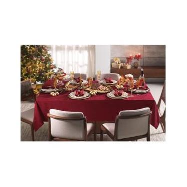 Imagem de Toalha de Mesa Retangular 10 Lugares 1,60x3,20 m Natal Veríssimo Vermelha Karsten