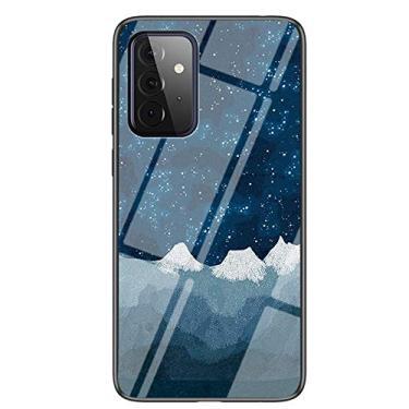 XYX Capa compatível com Samsung A72 5G, [traseira de vidro temperado] Capa fina leve com estampa de céu estrelado para Galaxy A72 5G (tecido de xadrez estrela)