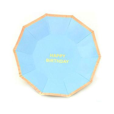Prato De Papel Happy Birthday Azul Bebê 10 Unidades