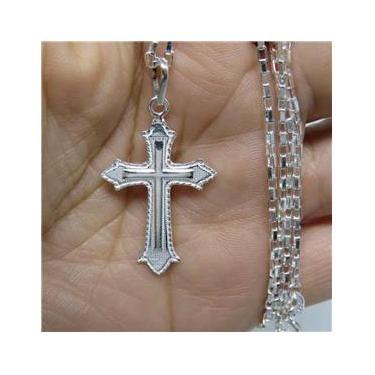 Cordão Corrente Masculina Prata 80cm Pingente Crucifixo Prata 925 Cadeado