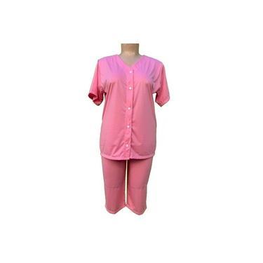 Pijama feminino pescador botões senhora plus size 10070 G1 rosa