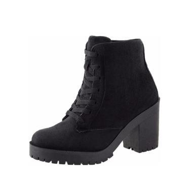 Bota CR Shoes Camurça Tratorada SapatoFran Salto Preto  feminino