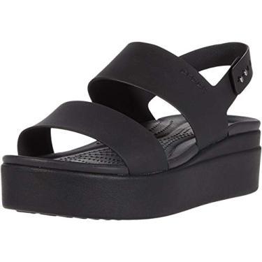 Sandália Crocs Brooklyn Look azul anabela para mulheres 206453-46K , Black/Black, 6