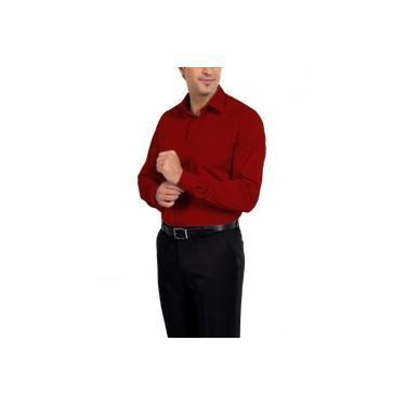 Camisa Social Manga Longa 100% Microfibra Masculina Vermelha Bom Pano