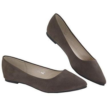 Bella Marie Angie-53 sapatilha feminina clássica bico fino balé sem cadarço, Light Brown, 5.5