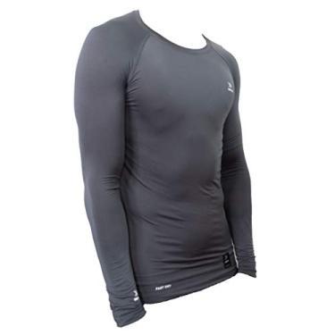 Camisa de compressão térmica United Pro Proteção Solar FPU50+ Manga Longa Rash Guard - Cinza - P