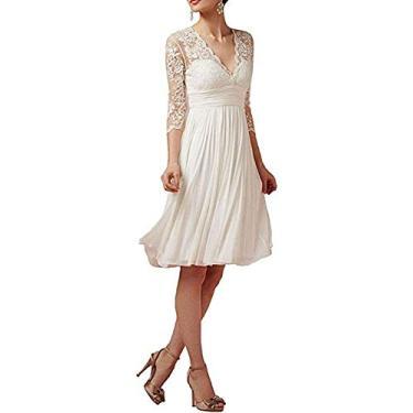 Imagem de Solandia Vestido de baile feminino evasê plus size renda praia vestidos de casamento para noiva com comprimento curto, Branco, 6