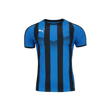 Camisa Puma Liga Jersey Striped - Masculina - AZUL PRETO Puma 33ea08c20a8c