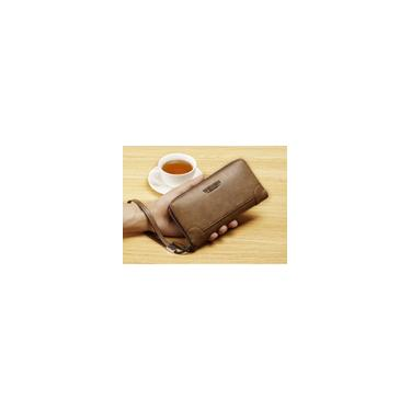 Carteira masculina longa zíper slots para cartão grande capacidade couro sintético cáqui informal
