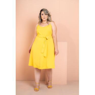 Vestido Curto Crepe Maresias Amarelo Plus Size Domenica Solazzo