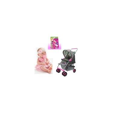Imagem de Kit Carrinho De Boneca Milano Luxo + Baby Ninos Cotiplas