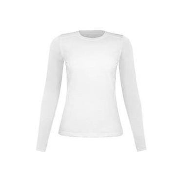 Camiseta Silver Fresh Feminina com Proteção Solar 50 Branca Manga Longa Curtlo