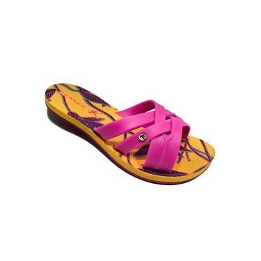 Sandália Kenner Lips Shine Floral HBR - Rosa e Amarelo