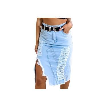 Saia Midi Jeans Destroyed rasgo frontal - EWF Jeans - Azul Claro