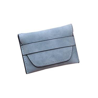 Carteira feminina de couro PU com nobuck opaco polido mini bolsa para cartões, chaves, moedas pequenas (azul claro), Carteira de viagem, Conforme mostrado., NA