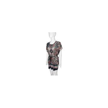 Vestido feminino de seda de gelo com tamanho de plugue feminino vestido nacional com estampa floral O pescoço
