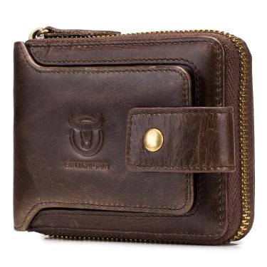 Carteira masculina de couro com zíper de duas vias Adaskala, carteira de viagem segura RFID, bolsa para presente