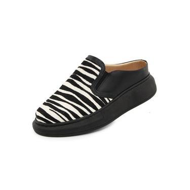 """"""" Mule sapatenis Feminino Griffe Up Maia Couro 2012 preto zebra"""