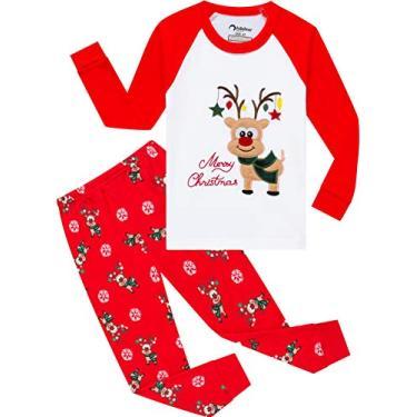 Pijama infantil de Halloween para meninos que brilham no escuro esqueleto pijama infantil Ghost pijama, New-red-handmade-deer, 4T