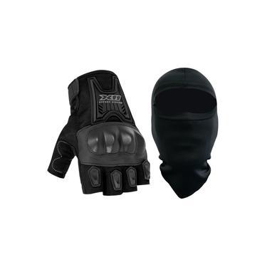 Luva X11 Blackout Meio Dedo Com Proteção Motociclista + Balaclava