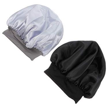 PIXNOR Boné de cetim 2 peças com faixa larga para dormir feminino Salon Bonnet Silk Night Sleep Hat Quimioterapia Preto Prata