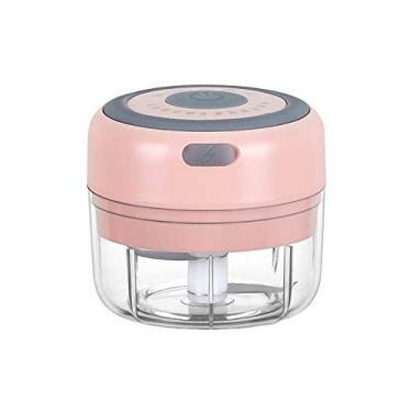 Mini Espremedor de Alho Doméstico Batedor de Alho Elétrico Sem Fio Espremedor Elétrico (100ml Rosa)