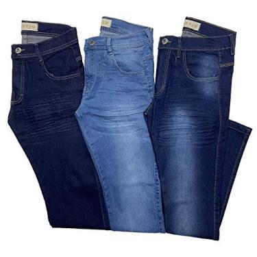 Kit 3 Calças Jeans Masculina Slim Com Lycra