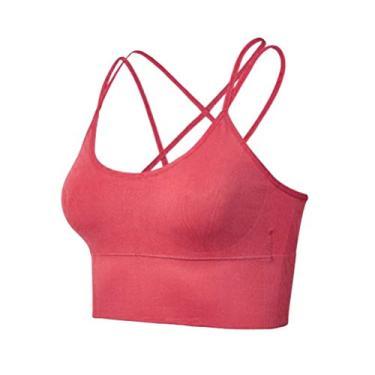 Sutiã esportivo feminino KesYOO com tiras sexy acolchoado e cruzado para ioga, regata respirável para treino, academia, corrida, Vermelho coral, XL